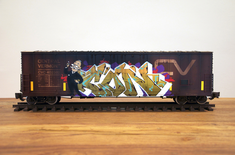CV, G Scale Train, Freight Train Graffiti, Railroad Art, Tim Conlon Art