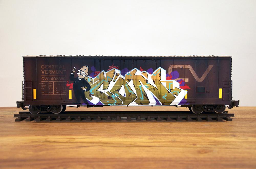CV, G Scale Train, Freight Train Graffiti, Railroad Art, Tim Conlon Art