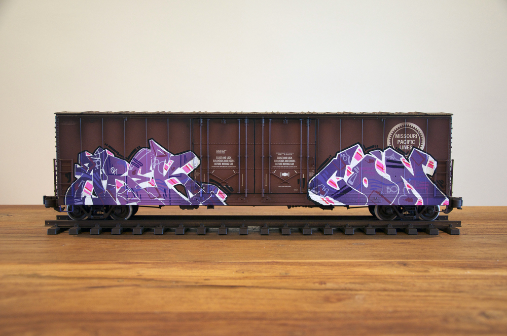 MP #2, G Scale Train, Freight Train Graffiti, Railroad Art, Tim Conlon Art