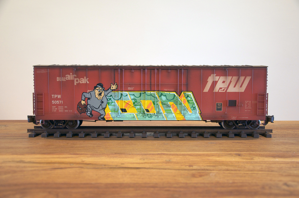 TPW #4, G Scale Train, Freight Train Graffiti, Railroad Art, Tim Conlon Art