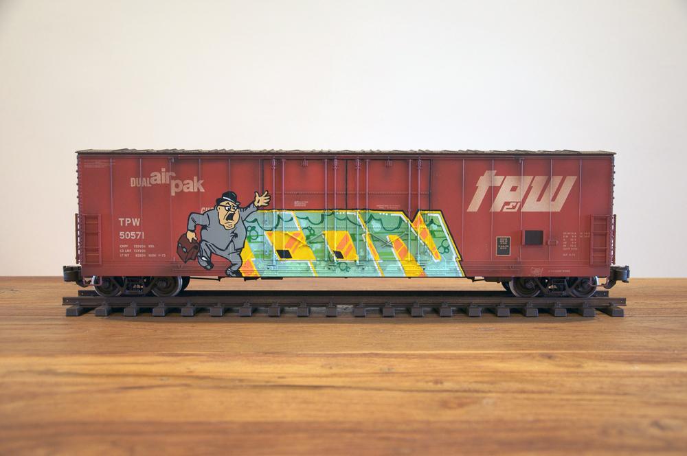 TPW #4, G Scale Train, Freight Train Graffiti, Railroad Art, Tim Conlon Art