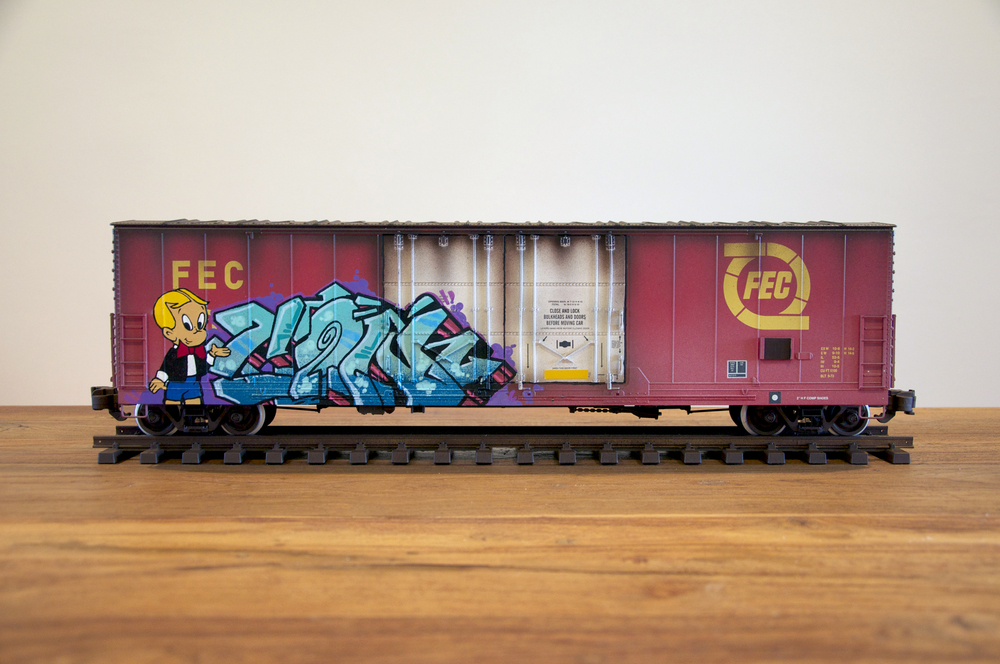 FEC #2, G Scale Train, Freight Train Graffiti, Railroad Art, Tim Conlon Art