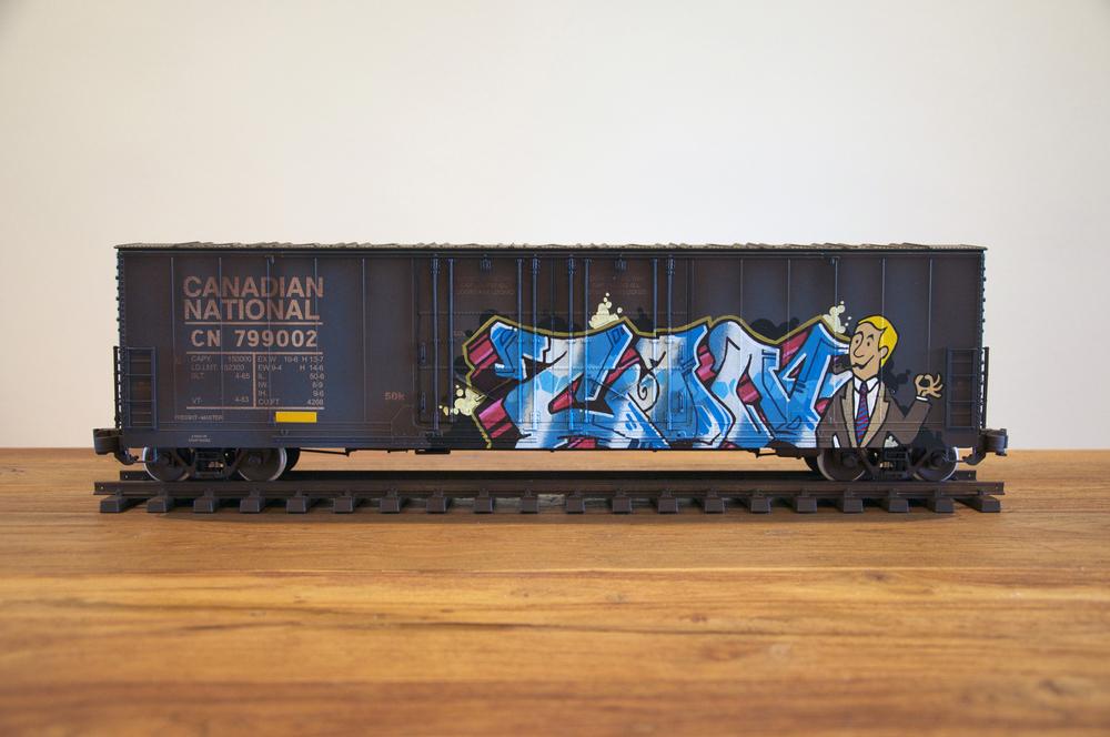 CN #8, G Scale Train, Freight Train Graffiti, Railroad Art, Tim Conlon Art