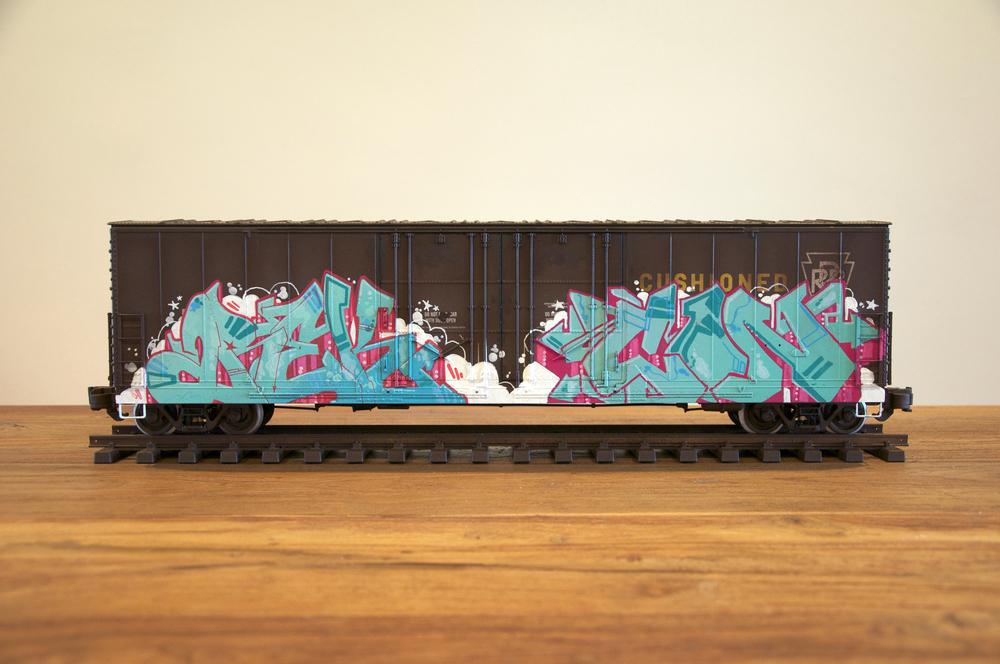 PRR #3, G Scale Train, Freight Train Graffiti, Railroad Art, Tim Conlon Art