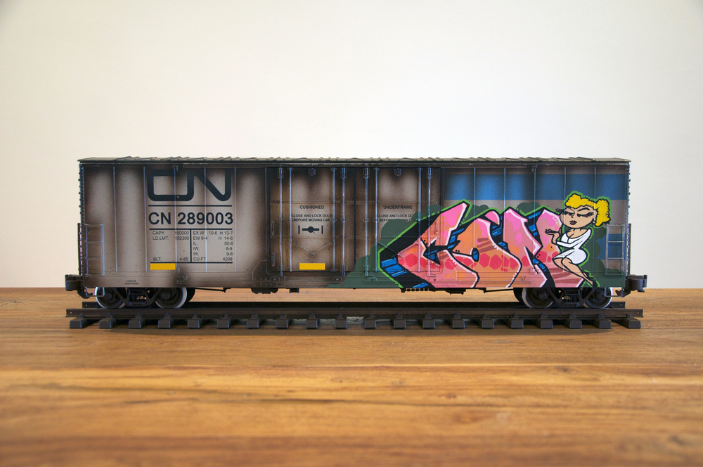 CN #9, G Scale Train, Freight Train Graffiti, Railroad Art, Tim Conlon Art