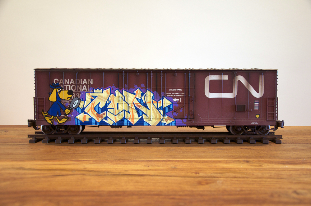 CN #7, G Scale Train, Freight Train Graffiti, Railroad Art, Tim Conlon Art