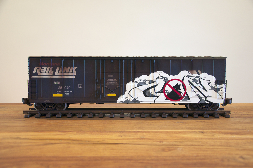 MRL #2, G Scale Train, Freight Train Graffiti, Railroad Art, Tim Conlon Art