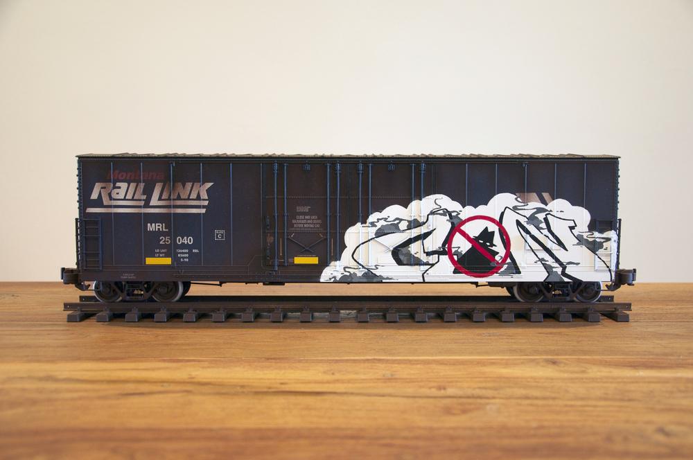 MRL #2, G Scale Train, Freight Train Graffiti, Railroad Art, Tim Conlon Art