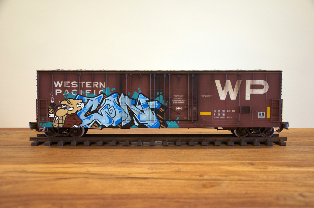 WP #3, G Scale Train, Freight Train Graffiti, Railroad Art, Tim Conlon Art