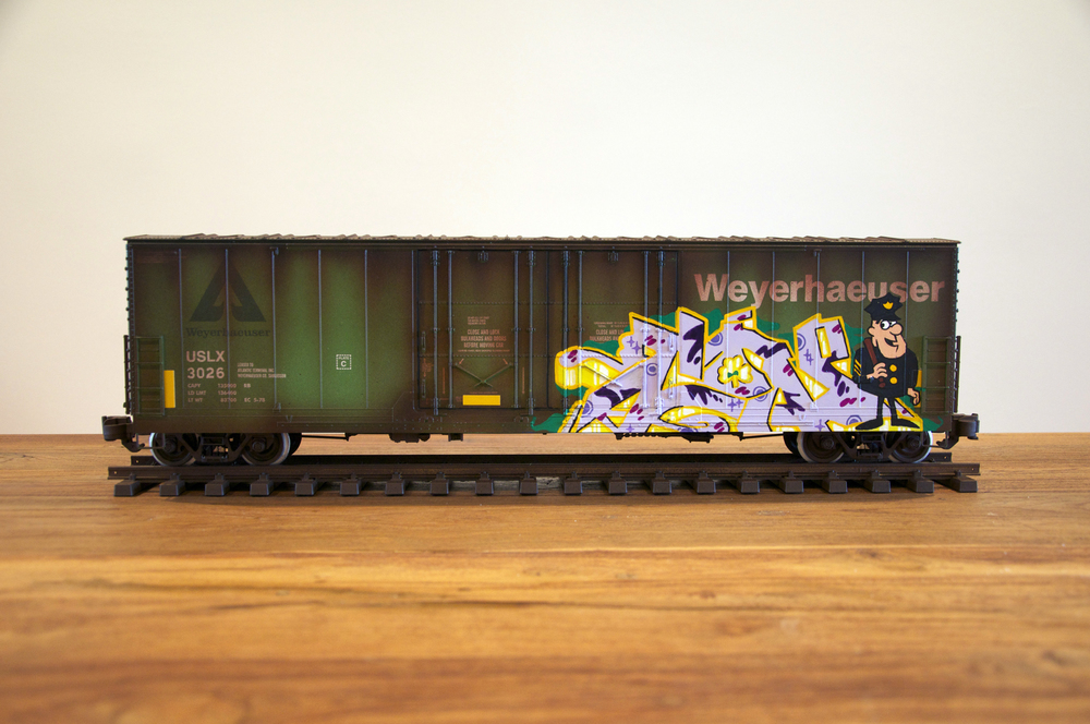 USLX #3, G Scale Train, Freight Train Graffiti, Railroad Art, Tim Conlon Art