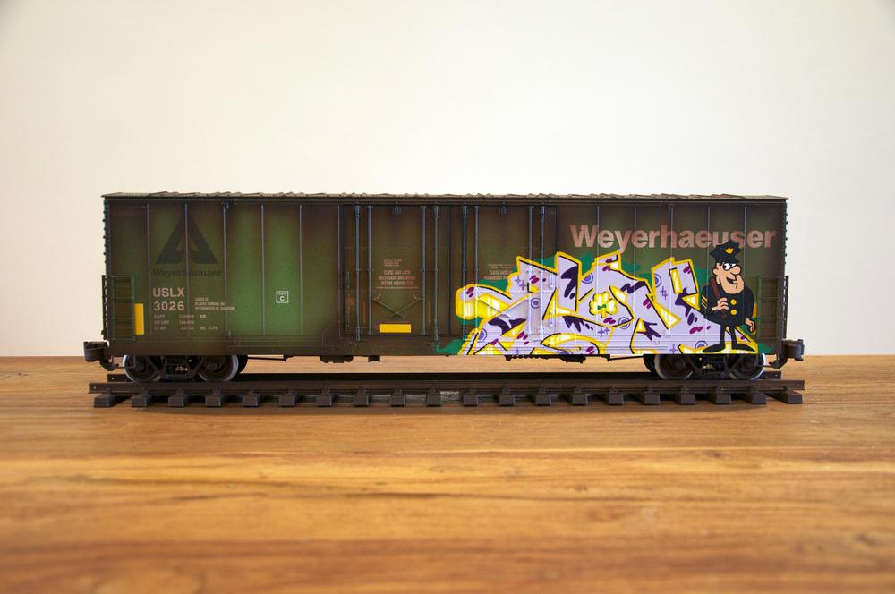 USLX #3, G Scale Train, Freight Train Graffiti, Railroad Art, Tim Conlon Art
