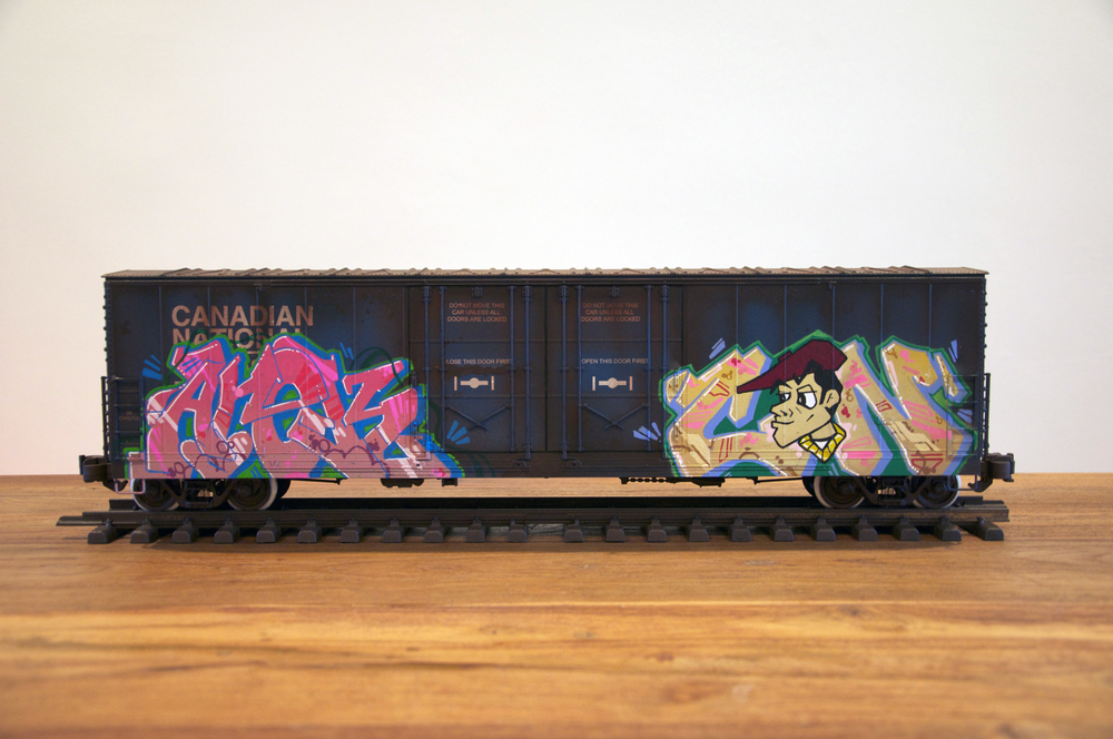 CN #12, G Scale Train, Freight Train Graffiti, Railroad Art, Tim Conlon Art