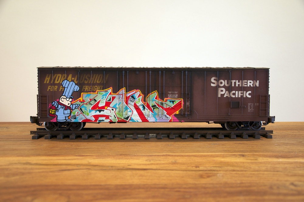 SP #2, G Scale Train, Freight Train Graffiti, Railroad Art, Tim Conlon Art