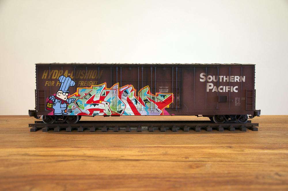 SP #2, G Scale Train, Freight Train Graffiti, Railroad Art, Tim Conlon Art