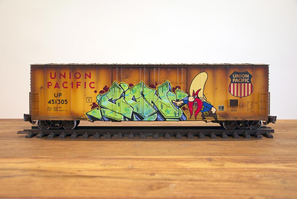 UP #3, G Scale Train, Freight Train Graffiti, Railroad Art, Tim Conlon Art