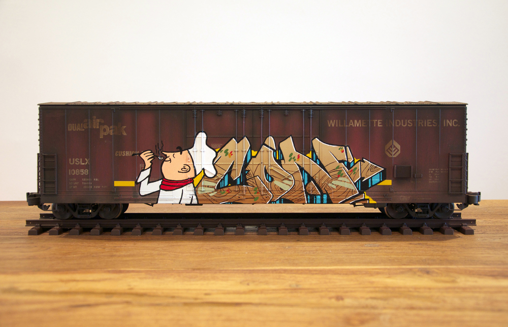 USLX #4, G Scale Train, Freight Train Graffiti, Railroad Art, Tim Conlon Art