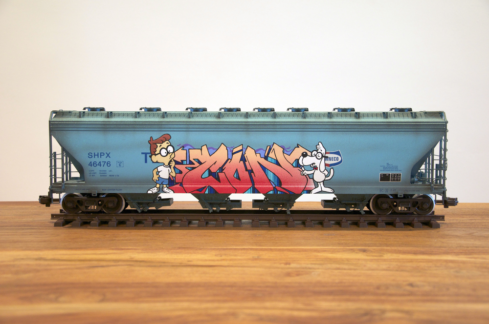 SHPX, G Scale Train, Freight Train Graffiti, Railroad Art, Tim Conlon Art