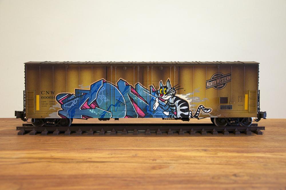 CNW #3, G Scale Train, Freight Train Graffiti, Railroad Art, Tim Conlon Art
