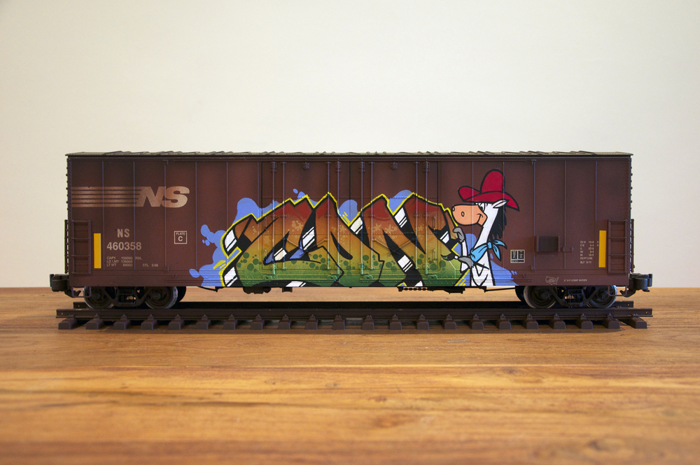 NS #7, G Scale Train, Freight Train Graffiti, Railroad Art, Tim Conlon Art