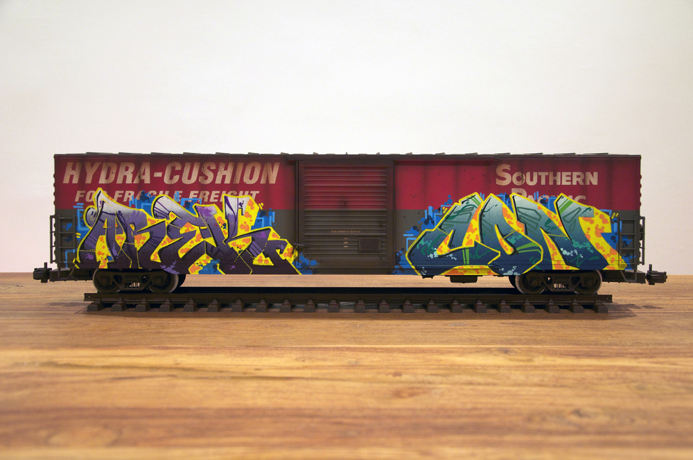 SP #3, G Scale Train, Freight Train Graffiti, Railroad Art, Tim Conlon Art