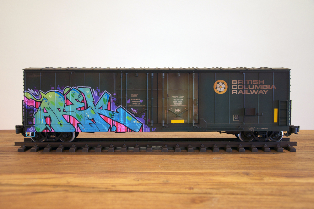 BCIT #2, G Scale Train, Freight Train Graffiti, Railroad Art, Tim Conlon Art