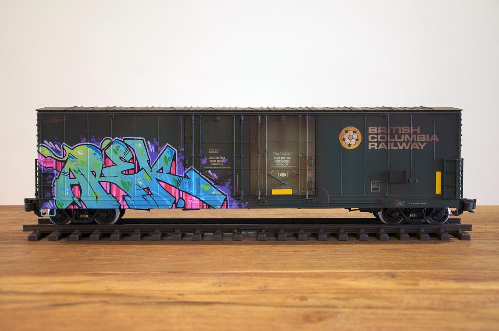 BCIT #2, G Scale Train, Freight Train Graffiti, Railroad Art, Tim Conlon Art