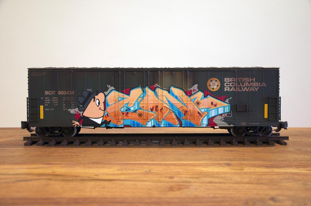 BCIT, G Scale Train, Freight Train Graffiti, Railroad Art, Tim Conlon Art