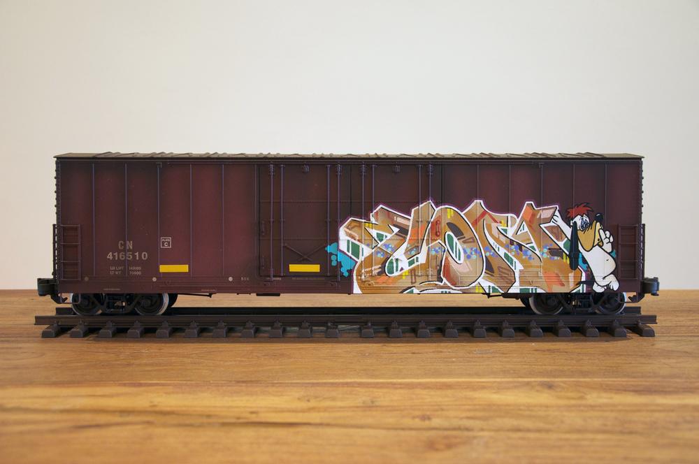 CN #13, G Scale Train, Freight Train Graffiti, Railroad Art, Tim Conlon Art