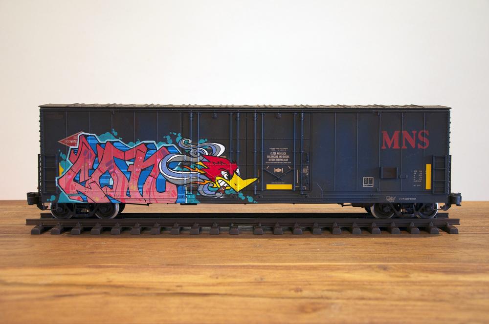 MNS #3, G Scale Train, Freight Train Graffiti, Railroad Art, Tim Conlon Art