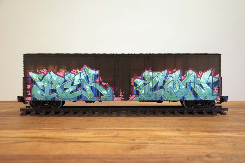 NS #9, G Scale Train, Freight Train Graffiti, Railroad Art, Tim Conlon Art