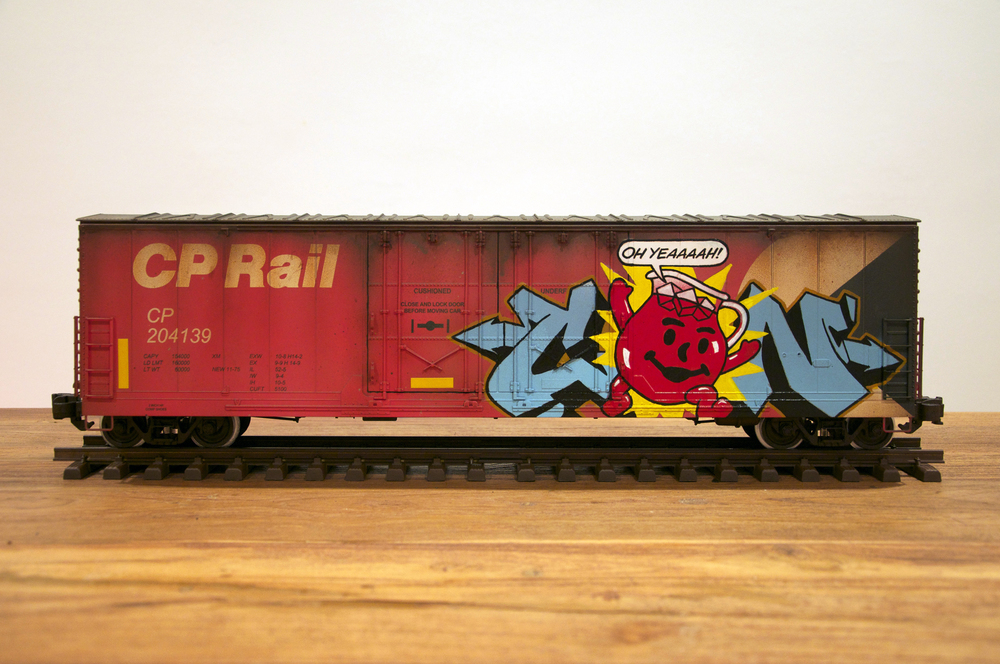 CP, G Scale Train, Freight Train Graffiti, Railroad Art, Tim Conlon Art