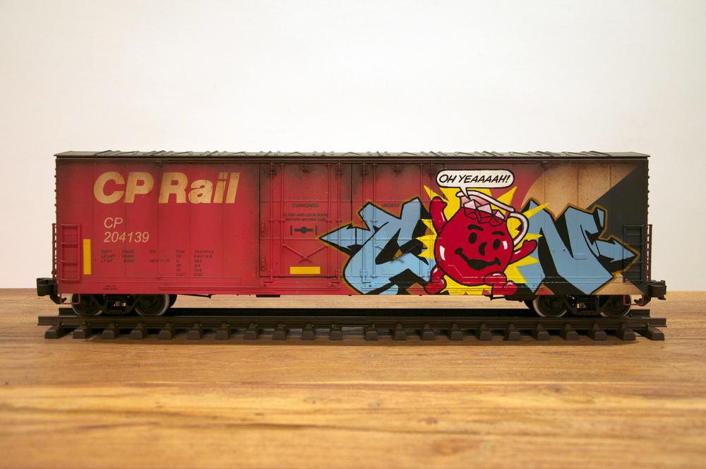 CP, G Scale Train, Freight Train Graffiti, Railroad Art, Tim Conlon Art