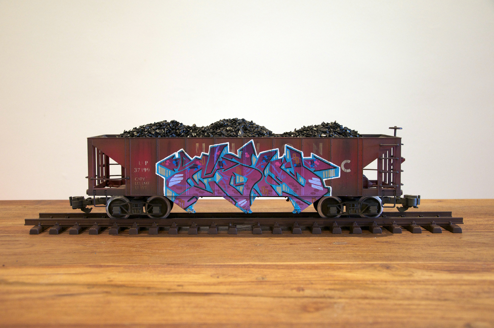 UP #4, G Scale Train, Freight Train Graffiti, Railroad Art, Tim Conlon Art