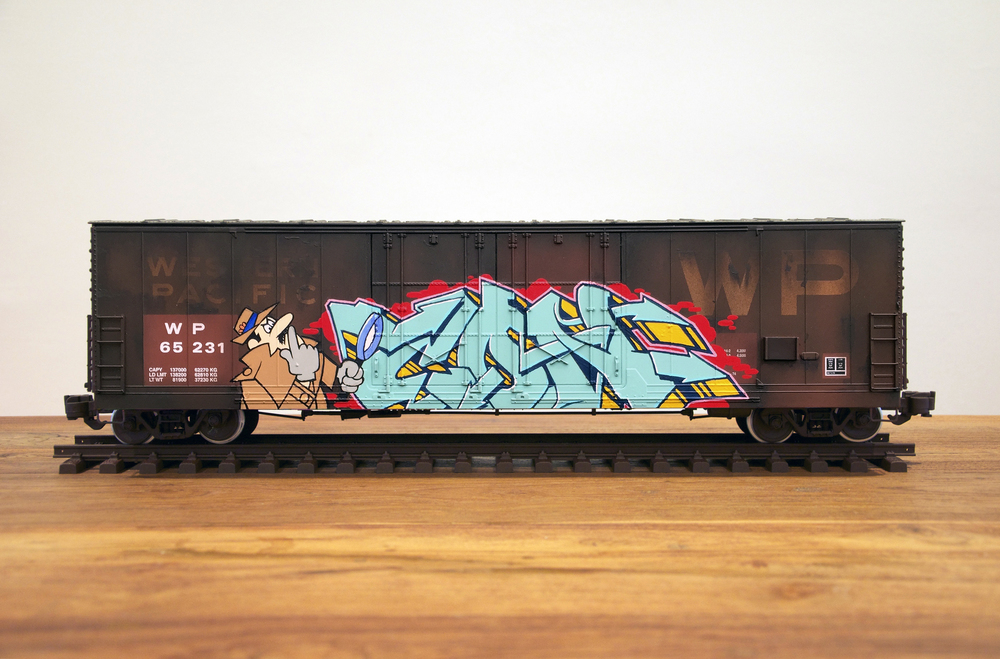 WP #4, G Scale Train, Freight Train Graffiti, Railroad Art, Tim Conlon Art