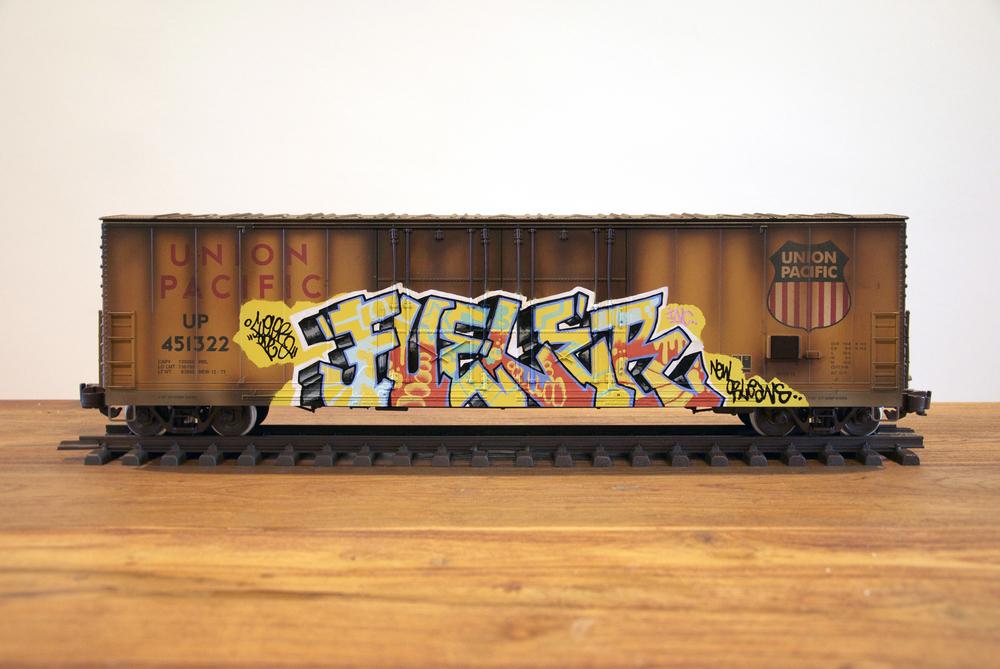 "UP #6 - ""RIP JOE FUELER"", G Scale Train, Freight Train Graffiti, Railroad Art, Tim Conlon Art"
