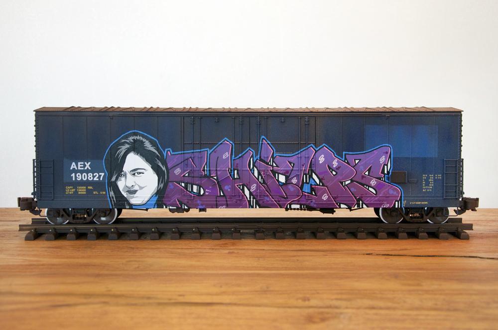 "AEX #2 - ""SHILPS"", G Scale Train, Freight Train Graffiti, Railroad Art, Tim Conlon Art"