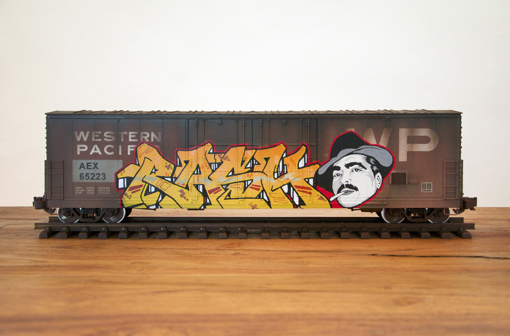 "AEX - ""RASH"", G Scale Train, Freight Train Graffiti, Railroad Art, Tim Conlon Art"