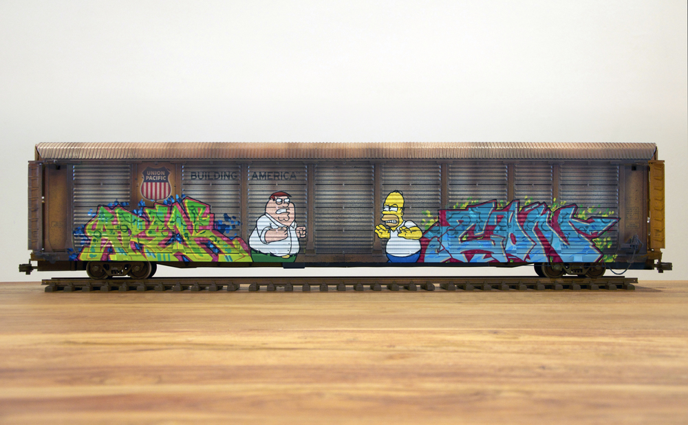 UP #5, G Scale Train, Freight Train Graffiti, Railroad Art, Tim Conlon Art