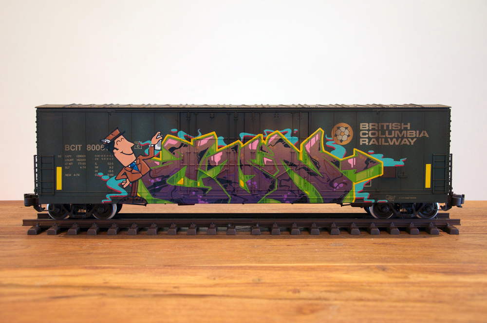 BCIT #3, G Scale Train, Freight Train Graffiti, Railroad Art, Tim Conlon Art