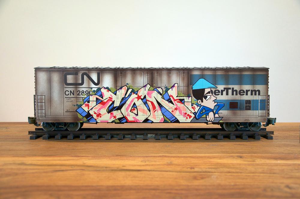 CN #14, G Scale Train, Freight Train Graffiti, Railroad Art, Tim Conlon Art