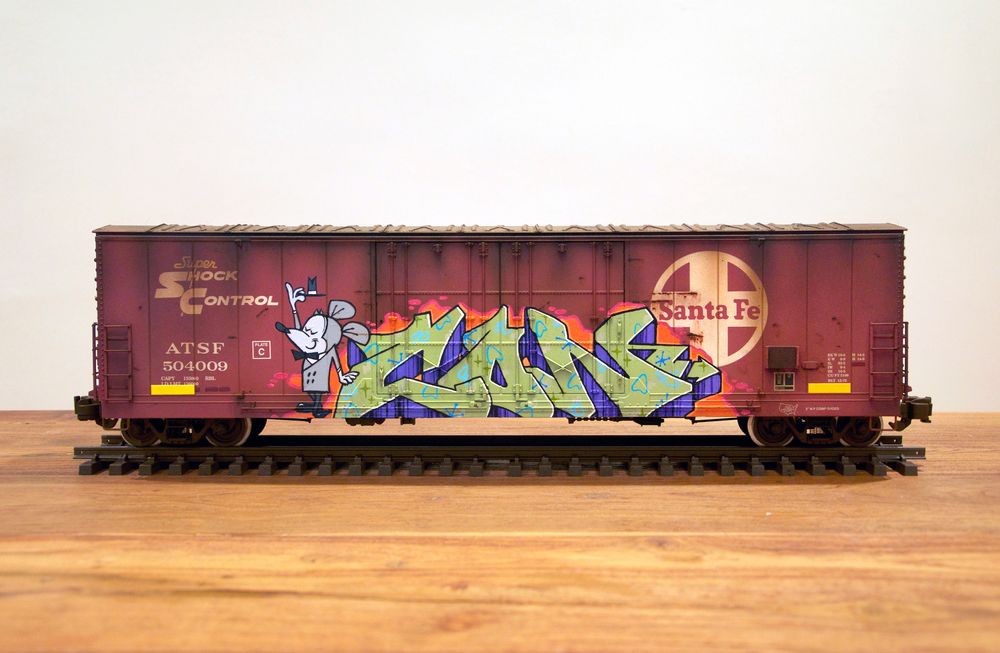 ATSF #2, G Scale Train, Freight Train Graffiti, Railroad Art, Tim Conlon Art