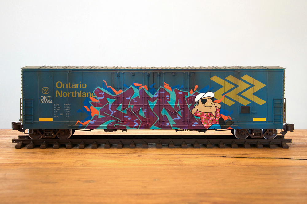 ONT, G Scale Train, Freight Train Graffiti, Railroad Art, Tim Conlon Art