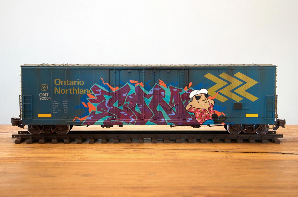 ONT, G Scale Train, Freight Train Graffiti, Railroad Art, Tim Conlon Art