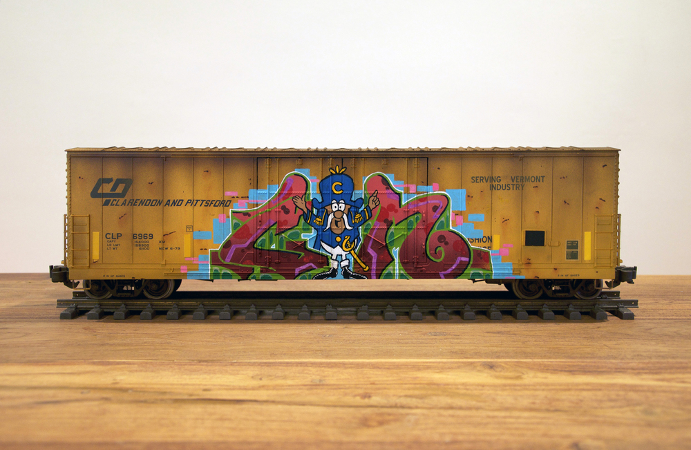 CLP, G Scale Train, Freight Train Graffiti, Railroad Art, Tim Conlon Art