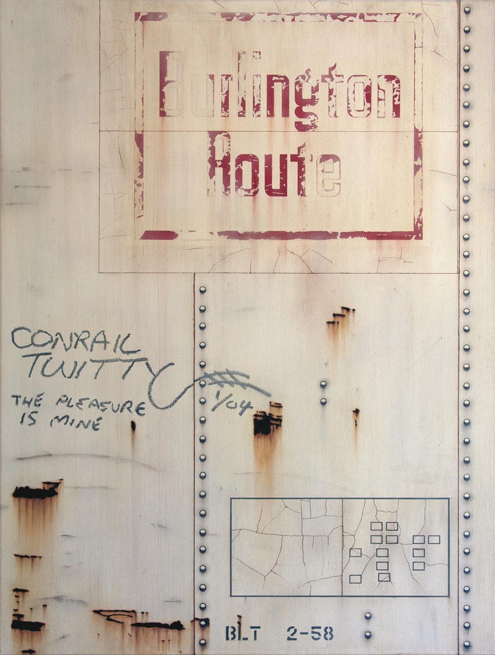 Blank Canvas #55 - Burlington Route, Freight Train Painting, Boxcar Painting, Railroad Art, Tim Conlon Art