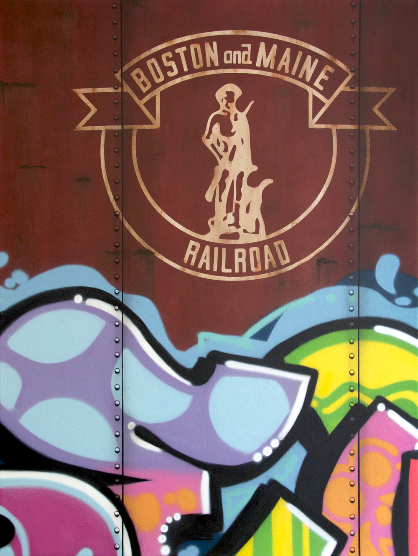 Blank Canvas #54 - B&M, Freight Train Painting, Boxcar Painting, Railroad Art, Tim Conlon Art