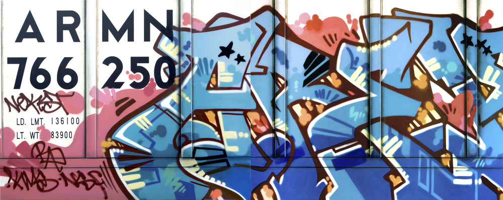 Blank Canvas #42 - ARMN, Freight Train Painting, Boxcar Painting, Railroad Art, Tim Conlon Art