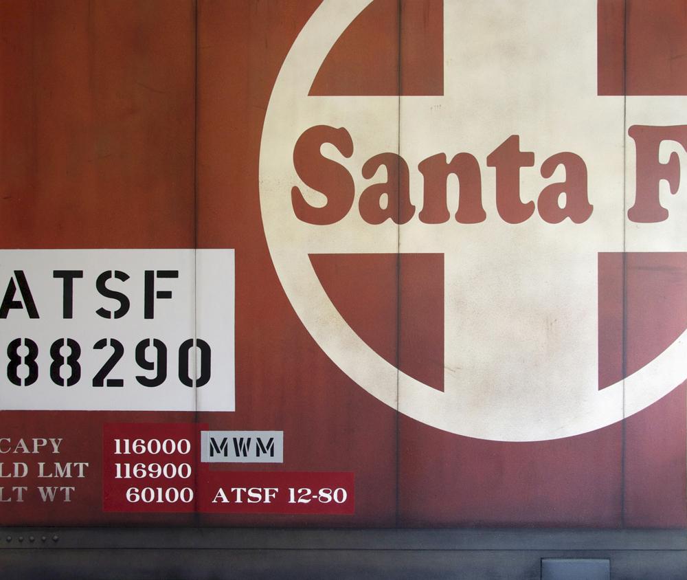 Blank Canvas #19 – Santa Fe, Freight Train Painting, Boxcar Painting, Railroad Art, Tim Conlon Art