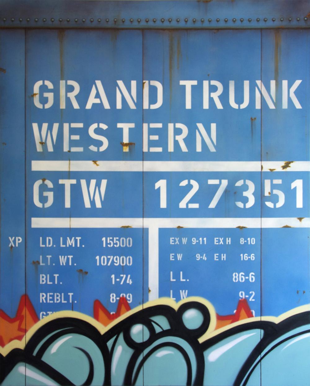 Blank Canvas #12 – GTW, Freight Train Painting, Boxcar Painting, Railroad Art, Tim Conlon Art