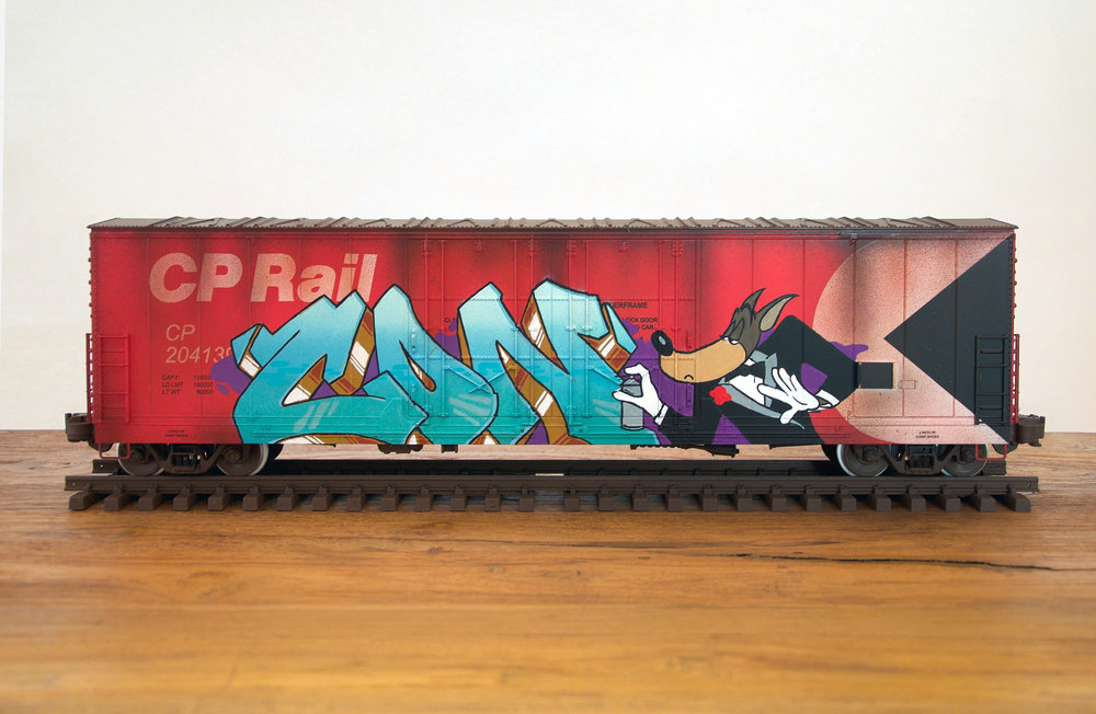 CP #3, G Scale Train, Freight Train Graffiti, Boxcar Art, Railroad Art, Tim Conlon Art
